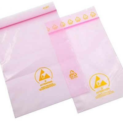 Bolsas antiestáticas rosadas 80 x 120 mm sellable + etiqueta de advertencia impresa ESD shield®
