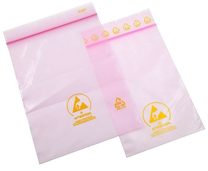 ESD shield® Pink Anti Static Bags (inc warning labels)